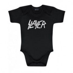 Slayer Baby Romper Logo White   Metal Kids and Baby collection