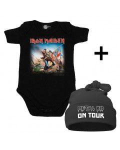 Cadeauset Iron Maiden Baby Romper & Metal Kid on Tour Muts