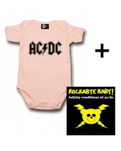Baby rock giftset AC/DC Baby Grow Logo Pink & CD