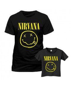 Set Rock duo t-shirt pour papa Nirvana & t-shirt Enfant Smiley