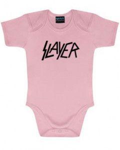 Slayer Onesie Baby Logo Pink  – metal onesies