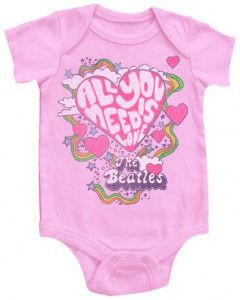 Beatles Baby Romper All You Need Is Love Pink