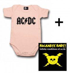 Cadeauset AC/DC Baby Romper Logo Pink & AC/DC CD