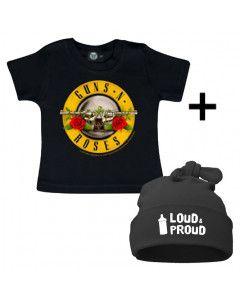 Idea regalo T-shirt bebè Guns n' Roses & Loud & Proud Cappello