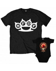 Duo Rockset Five Finger Death Punch Father's T-shirt & Five Finger Death Punch Baby Grow Baby