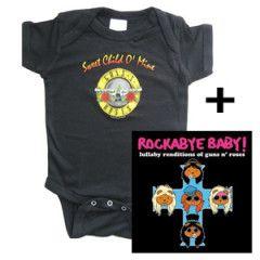 Idea regalo body bebè rock bambino Guns and Roses & Rockabye baby Guns and Roses